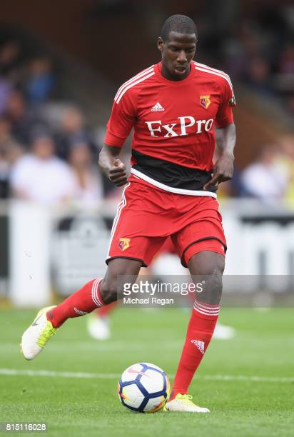 Abdoulaye Doucoure of Watford in action during the preseason friendly match between AFC Wimbledon and Watford at The Cherry Red Records Stadium on...