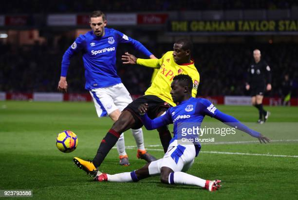 Abdoulaye Doucoure of Watford is tackled by Idrissa Gueye of Everton during the Premier League match between Watford and Everton at Vicarage Road on...