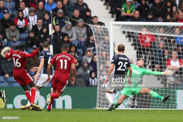 Abdoulaye Doucoure of Watford scores a goal to make the score 21 during the Premier League match between West Bromwich Albion and Watford at The...