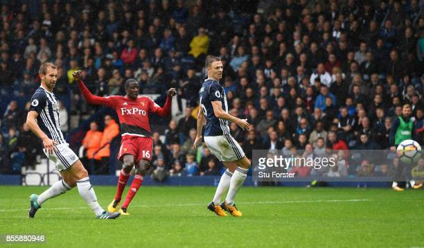Abdoulaye Doucoure of Watford scores his side's first goal during the Premier League match between West Bromwich Albion and Watford at The Hawthorns...