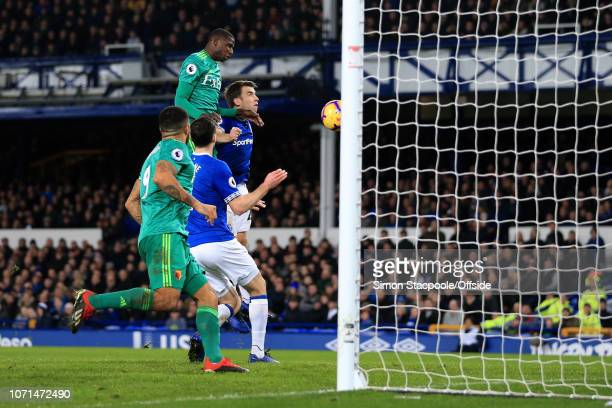 Abdoulaye Doucoure of Watford scores their 2nd goal during the Premier League match between Everton and Watford at Goodison Park on December 10 2018...