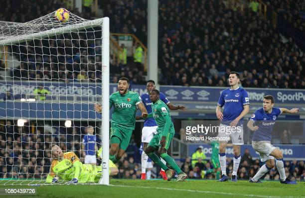 Abdoulaye Doucoure of Watford scores their second goal during the Premier League match between Everton FC and Watford FC at Goodison Park on December...