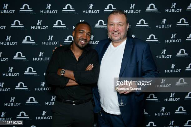 Abdoulaye Fadiga and Christophe Tiozzo attend the launch of Hublot x Champion Spirit on June 27 2019 in Paris France