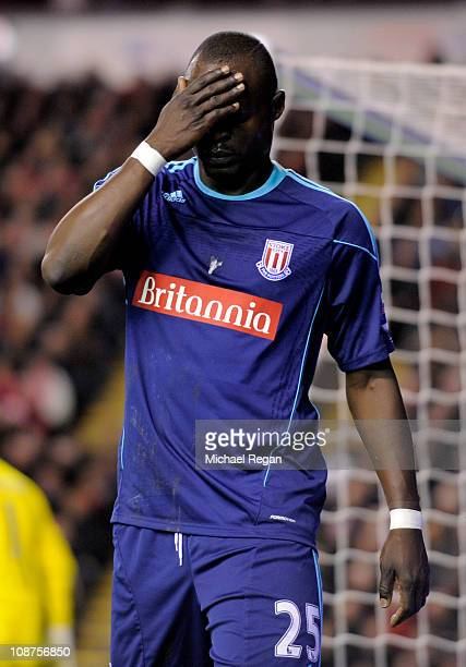 Abdoulaye Faye Of Stoke City Reacts During The Barclays Premier League Match Between Liverpool And Stoke