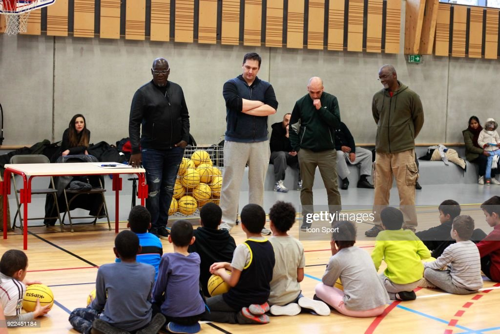 Abdoulaye Ndiaye, Bouna Ndiaye, Julien Martin head coach and Aziz NDiaye explain the project during come to explain the project younus at Grigny, France on 7th February 2018
