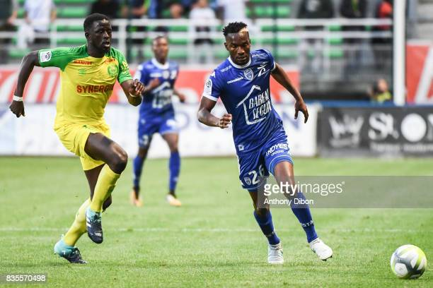 Abdoulaye Toure of Nantes and Adama Niane of Troyes during the Ligue 1 match between Troyes Estac and FC Nantes at Stade de l'Aube on August 19 2017...