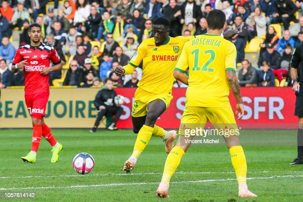 Abdoulaye Toure of Nantes shots atgoal to score the third goal during the Ligue 1 match between Nantes and Guingamp at Stade de la Beaujoire on...