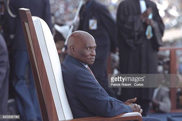 Abdoulaye Wade during the ceremony at the Dakar stadium