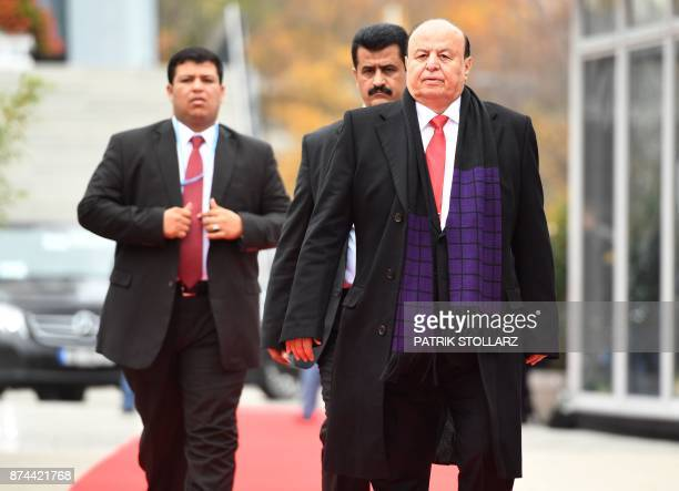 Abdrabbuh Mansour Hadi President of Yemen arrives to attend a session of the UN conference on climate change on November 15 2017 in Bonn western...