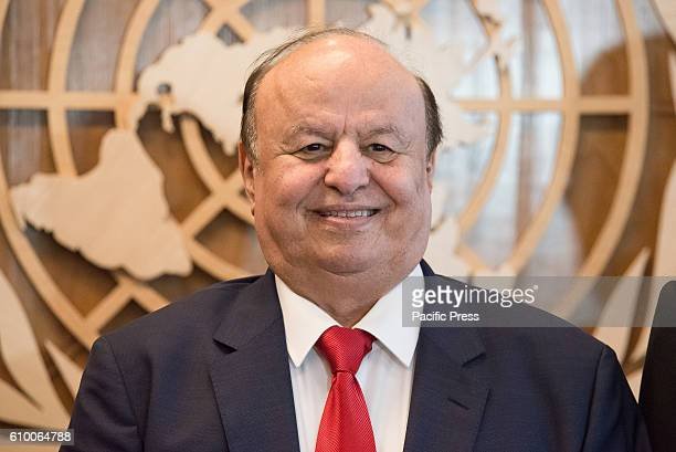 Abdrabuh Mansour Hadi Mansour President of the Republic of Yemen at a brief ceremony on the UN Secretariat Building's 27th Floor at UN Headquarters...