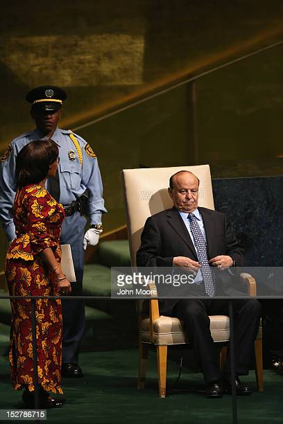 Abdrabuh Mansur Hadi President of the Republic of Yemen prepares to address the UN General Assembly on September 26 2012 in New York City The 67th...