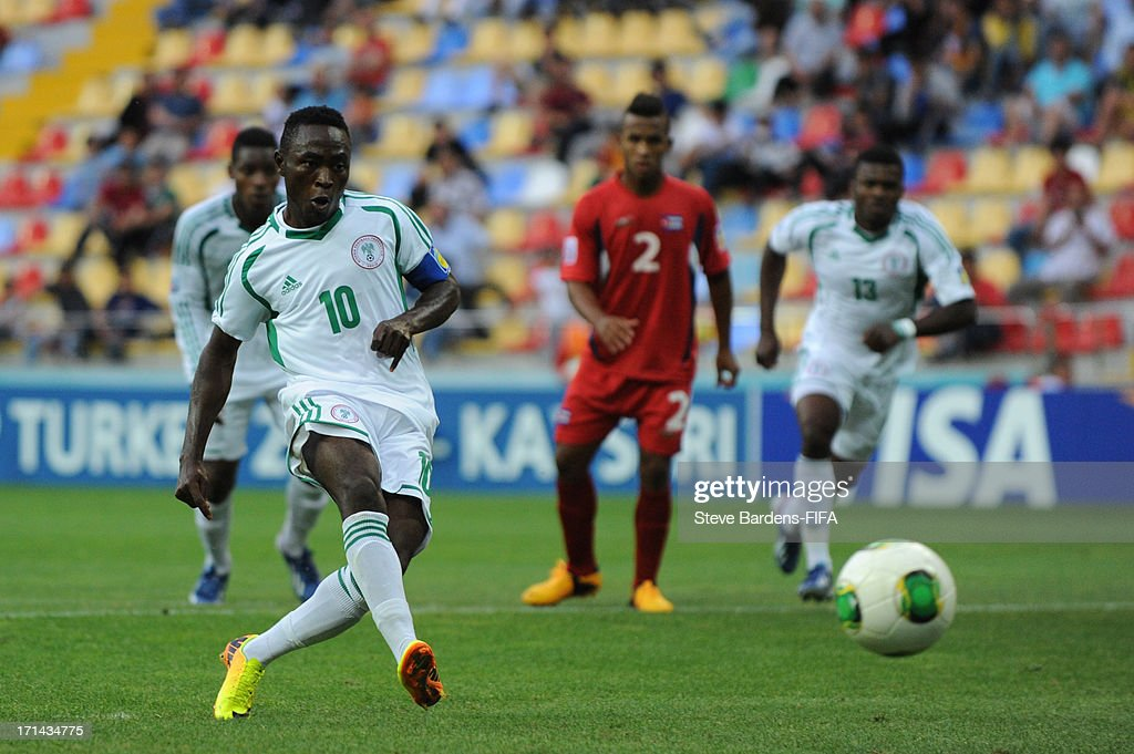 Abdul Ajagun of Nigeria shoots from the penalty spot but hits the post during the FIFA U-20 World Cup Group B match between Cuba and Nigeria at Kadir Has Stadium on June 24, 2013 in Kayseri, Turkey.