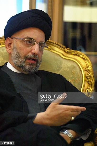STORY Abdul Aziz alHakim leader of the Iraqi Supreme Council for the Islamic Revolution gestures as he speaks during an interview with AFP in Baghdad...