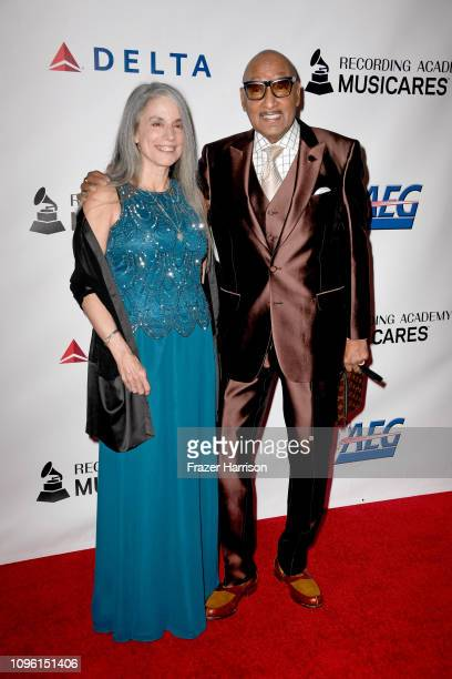 Abdul 'Duke' Fakir of the Four Tops and guest attend MusiCares Person of the Year honoring Dolly Parton at Los Angeles Convention Center on February...