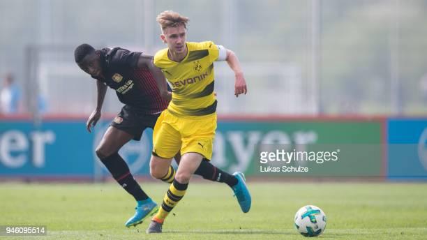 Abdul Fesenmeyer of Leverkusen and Niclas Knoop of Dortmund in action during the B Juniors Bundesliga West match between Bayer Leverkusen and...