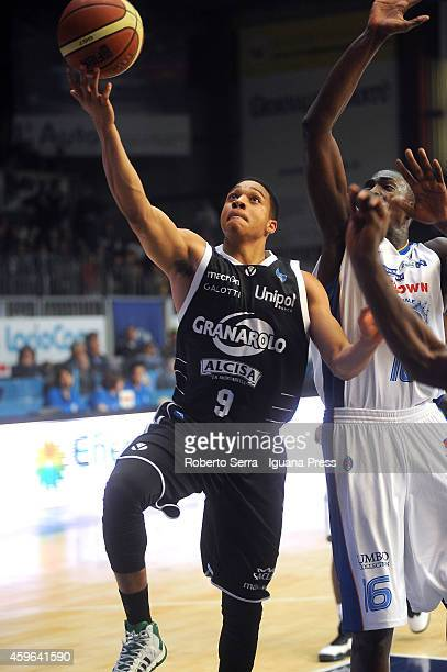 Abdul Gaddy of Granarolo competes with Cheikh Mbodj of Acqua Vitasnella looks over during the LegaBasket Serie A1 match between Acqua Vitasnella...