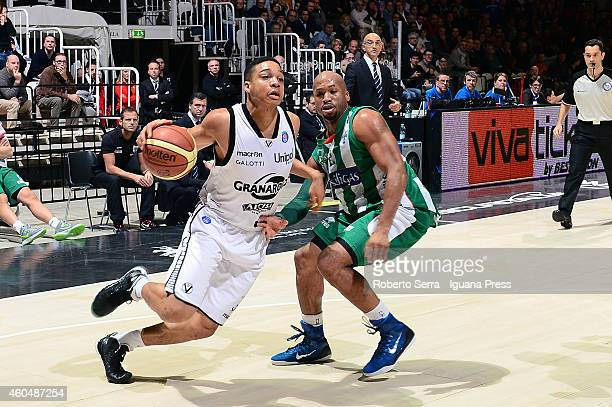 Abdul Gaddy of Granarolo competes with Sundiata Gaines of Sidigas during the LegaBasket serie A1 match between Virtus Granarolo Bologna and Sidigas...