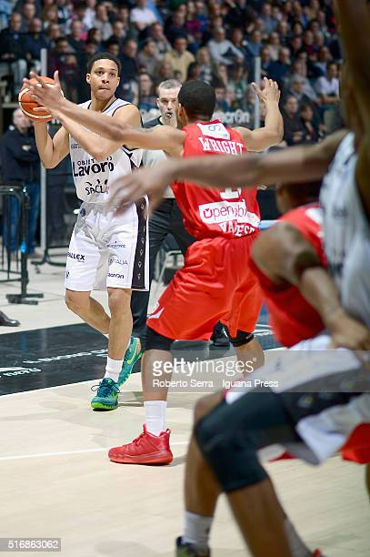 Abdul Gaddy of Obiettivo Lavoro competes with Chris Wright of Openjobmetis during the LegaBasket match between Virtus Obiettivo Lavoro vs...