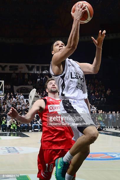 Abdul Gaddy of Obiettivo Lavoro competes with Daniele Cavaliero of Openjobmetis during the LegaBasket match between Virtus Obiettivo Lavoro vs...