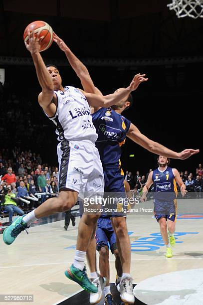 Abdul Gaddy of Obiettivo Lavoro competes with Jacopo Giachetti of Manital during the LegaBasket match between Virtus Obiettivo Lavoro Bologna v...