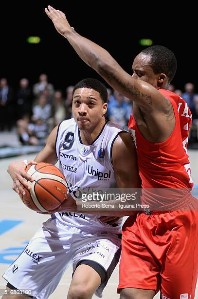 Abdul Gaddy of Obiettivo Lavoro competes with Maalik Wayns of Openjobmetis during the LegaBasket match between Virtus Obiettivo Lavoro vs...