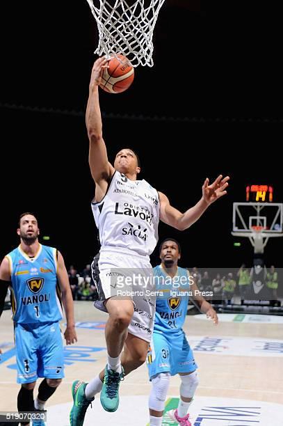 Abdul Gaddy of Obiettivo Lavoro competes with Nikola Dragovic and Elston Turner of Vanol during the LegaBasket match between Virtus Obiettivo Lavoro...