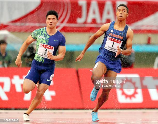 Abdul Hakim Sani Brown and Yuki Koike compete in the Men's 200m final on day four of the 103rd JAAF Athletics Championships at Hakata-no-Mori...