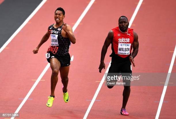 Abdul Hakim Sani Brown of Japan and Alex Wilson of Switzerland compete in the Men's 200 metres heats during day four of the 16th IAAF World Athletics...