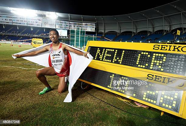 Abdul Hakim Sani Brown of Japan celebrates after winning the Boys 100 Meters Final on day one of the IAAF World Youth Championships Cali 2015 on July...