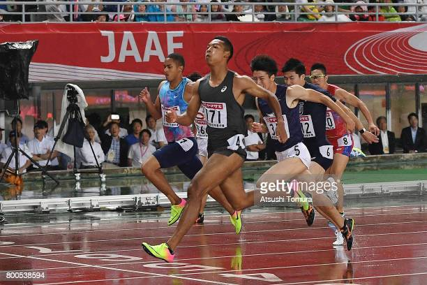 Abdul Hakim Sani Brown of Japan competes in the Men 100m final during the 101st Japan National Championships at Yanmar Stadium Nagai on June 24 2017...