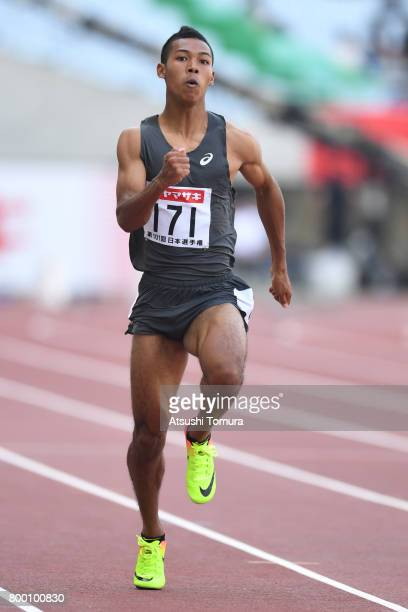 Abdul Hakim Sani Brown of Japan competes in the Men 100m heat 3 during the 101st Japan National Championships at Yanmar Stadium Nagai on June 23 2017...