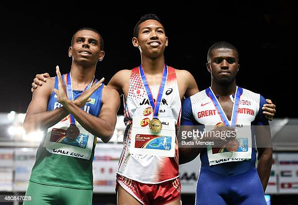 Abdul Hakim Sani Brown of Japan gold medal Derick Silva of Brazil silver medal and Rechmial Miller of Great Britian bronze medal celebrate on the...