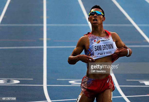Abdul Hakim Sani Brown of Japan in action during the Boys 200 Meters Semi Final on day four of the IAAF World Youth Championships Cali 2015 on July...