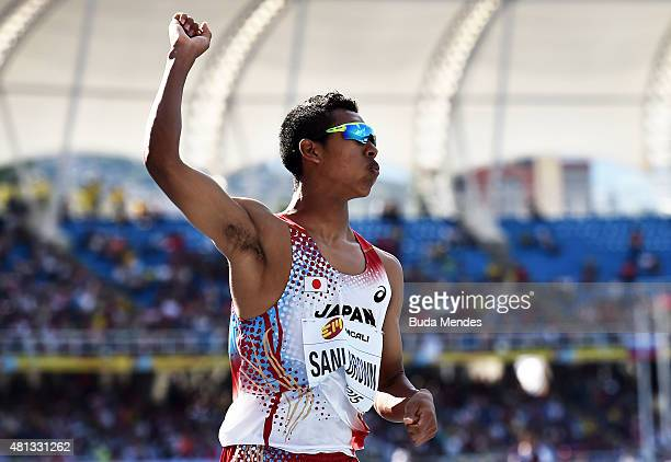 Abdul Hakim Sani Brown of Japan in action during the Boys 200 Meters Final on day five of the IAAF World Youth Championships Cali 2015 on July 19...