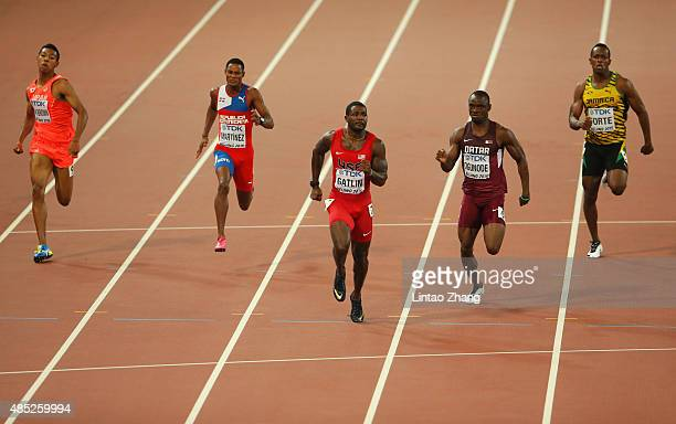 Abdul Hakim Sani Brown of Japan Yancarlos Martinez of the Dominican Republic Justin Gatlin of the United States Femi Ogunode of Qatar and Julian...
