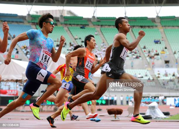 Abdul Hakim Sani Brown wins the Men's 200m during day three of the 101st JAAF Athletics Championships at Yanmar Stadium Nagai on June 25 2017 in...