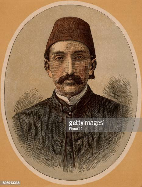 Abdul Hamid II last Sultan of Turkey Called the Great Assassin despotic ruler deposed and exiled 1909 Colourprinted wood engraving