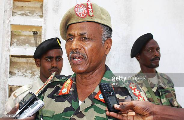 Abdul Kadir Shiekh Ali Somali military chief gives a press conference at a military base in Mogadishu on February 21 2012 Somali military forces...