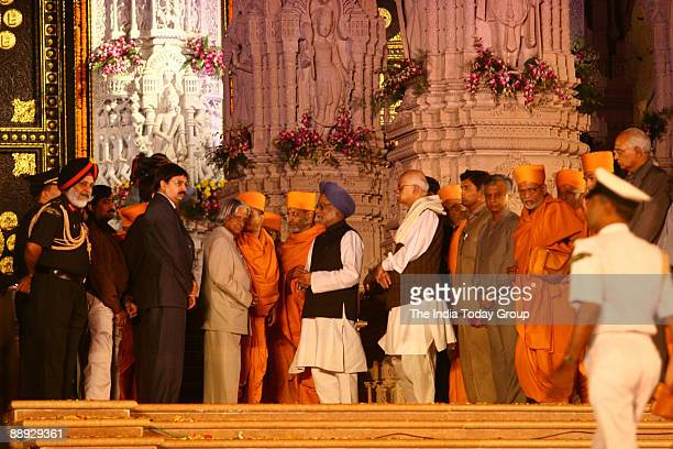 Abdul Kalam President of India with Manmohan Singh Prime Minister of India Lal Krishna Advani Former President of Bharatiya Janata Partry and Former...