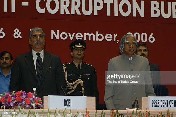 Abdul Kalam President of India with Vijay Shankar Director of the Central Bureau of Investigation at State anti corruption Bureau meeting organized...