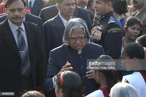 Abdul Kalam President of India with Visually Impaired Students at the Republic Day of India Rashtrapati Bhawan in New Delhi India