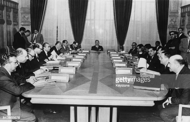 Abdul Khalek Hassouna SecretaryGeneral of the Arab League presides over a meeting of the committee of personal representatives of the Arab heads of...