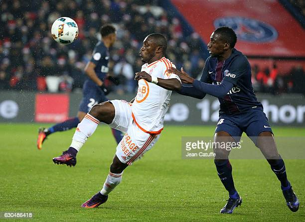 Abdul Majeed Waris of Lorient and Blaise Matuidi of PSG in action during the French Ligue 1 match between Paris SaintGermain and FC Lorient at Parc...
