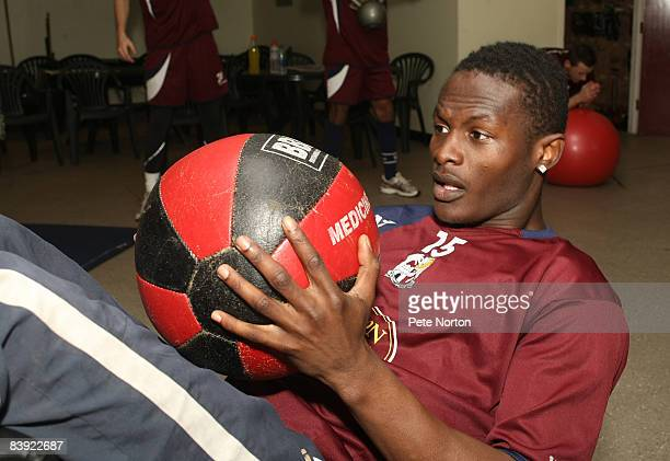 Abdul Osman of Northampton Town works out during a training session at the Sixfields Stadium on December 4 2008 in Northampton England
