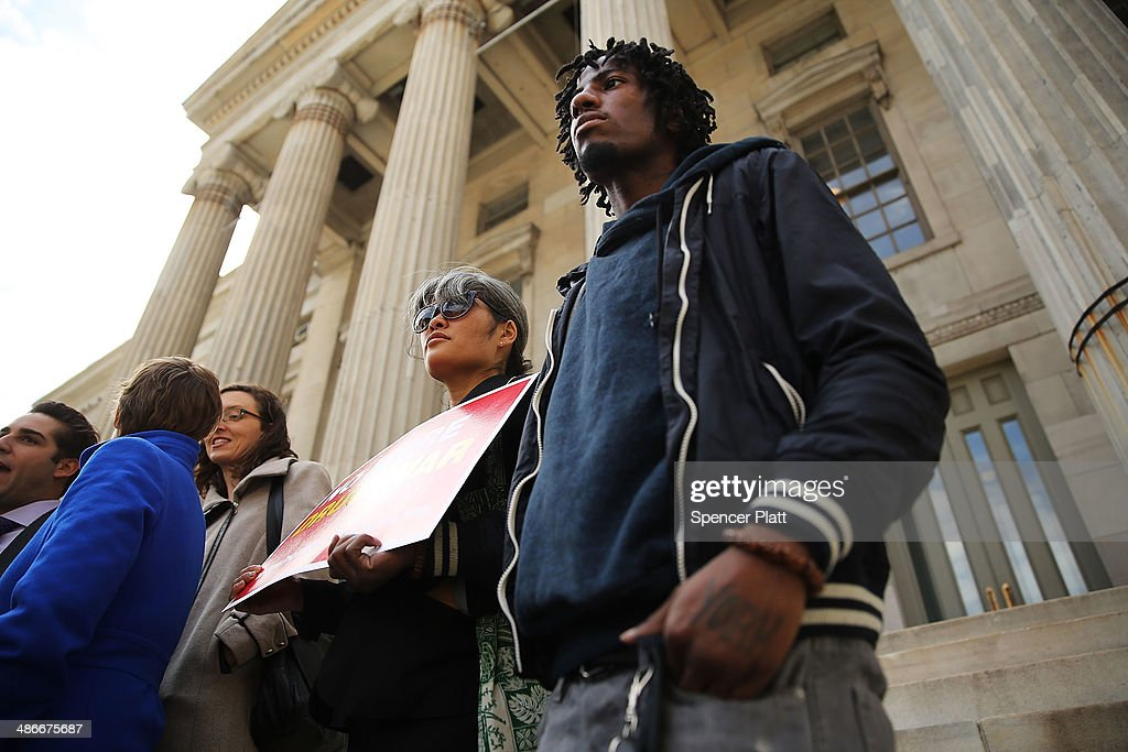 Abdul Osman, who spent time in jail, attends a rally outside Brooklyn borough hall in support of the district attorneyÕs plans to end prosecuting minor marijuana offenses on April 25, 2014 in New York City. While New York State decriminalized personal possession of small amounts of marijuana in 1977, marijuana possession in 'public view' remains a misdemeanor. Over the last 15 years, nearly 600,000 New Yorkers have been arrested under this provision.
