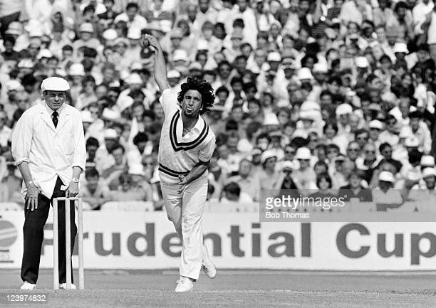 Abdul Qadir bowling for Pakistan against England during the Prudential Cricket World Cup match held at Old Trafford Manchester on 18th June 1983...