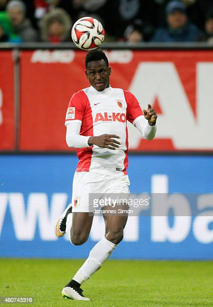 Abdul Rahman Baba of Augsburg in action during the Bundesliga match between FC Augsburg and Borussia Moenchengladbach at SGL Arena on December 20...