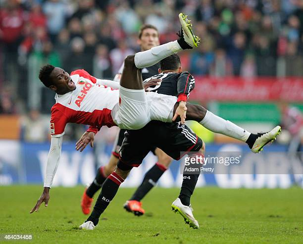Abdul Rahman Baba of Augsburg in action during the Bundesliga match between FC Augsburg and Bayer 04 Leverkusen at SGL Arena on February 21 2015 in...