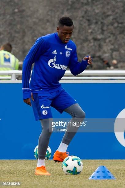 Abdul Rahman Baba of Schalke controls the ball during a training session at the FC Schalke 04 Training center on March 07 2018 in Gelsenkirchen...