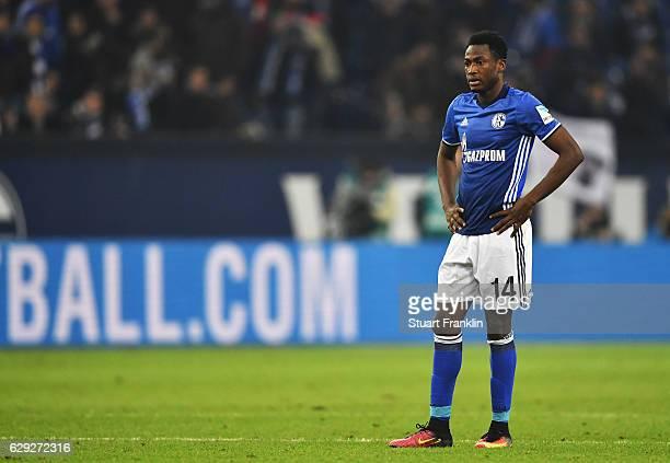 Abdul Rahman Baba of Schalke looks dejected during the Bundesliga match between FC Schalke 04 and Bayer 04 Leverkusen at VeltinsArena on December 11...
